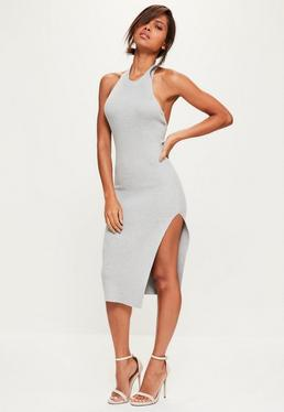 Grey Low Back Halterneck Knitted Midi Dress