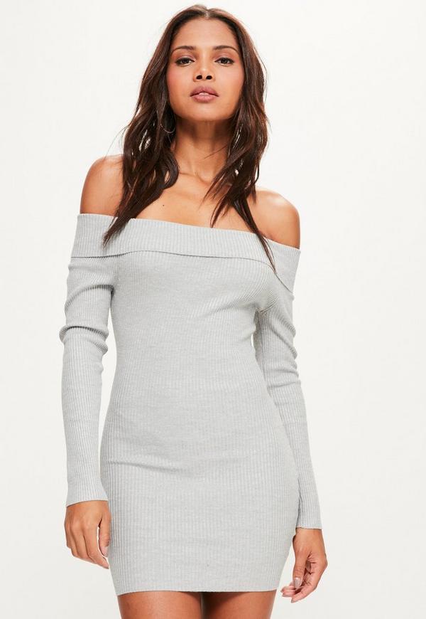 Grey Ribbed Bardot Mini Knitted Jumper Dress