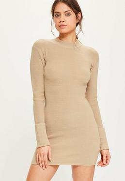 Camel Turn Back Cuff Mini Jumper Dress