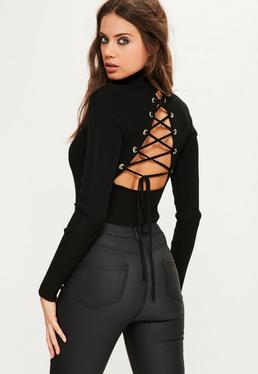Black Lace Up Back Ribbed Knitted Bodysuit
