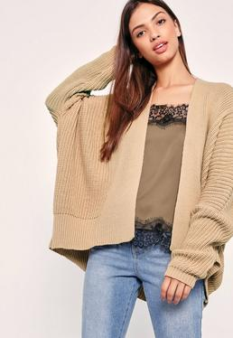 Camel Cocoon Knitted Cardigan