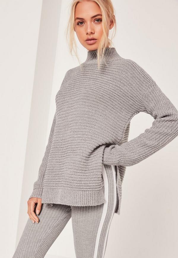 Funnel Neck Rib Stitch Jumper Grey