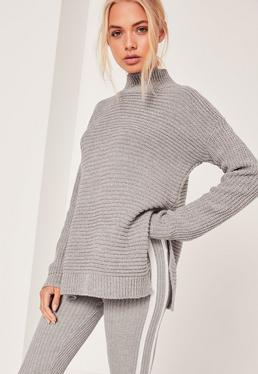 Grey Funnel Neck Ribbed Stitch Sweater