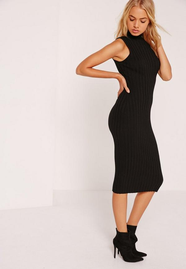 Extreme Ribbed Knitted Midi Dress Black