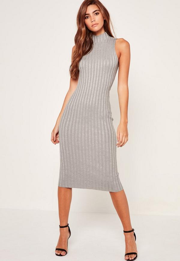 Grey Extreme Ribbed Knitted Midi Dress