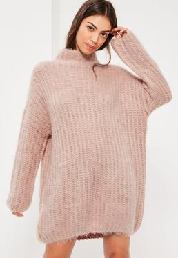 Pink Brushed Chunky Stitch Mini Jumper Dress