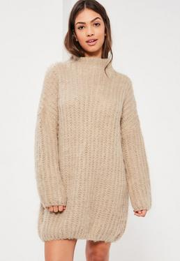 Nude Brushed Chunky Stitch Mini Jumper Dress