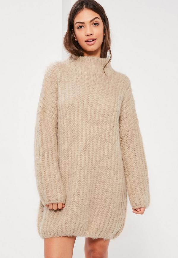 Nude Brushed Chunky Stitch Mini Jumper Dress