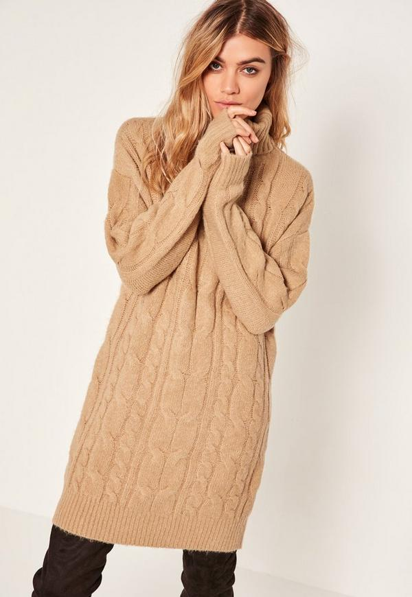 Knitting Pattern Turtleneck Dress : Camel Brushed Cable Knitted Turtleneck Sweater Dress Missguided
