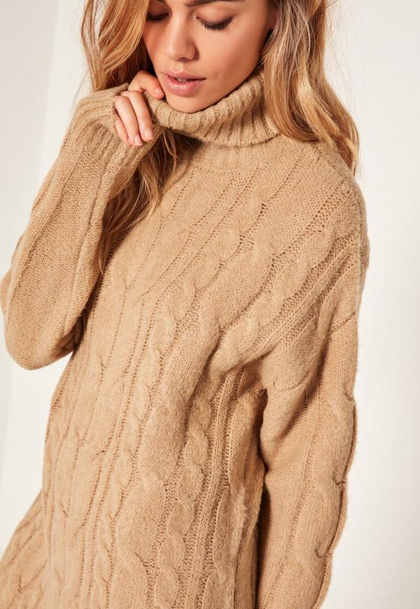 Camel Brushed Cable Knitted Turtleneck Sweater Dress | Missguided
