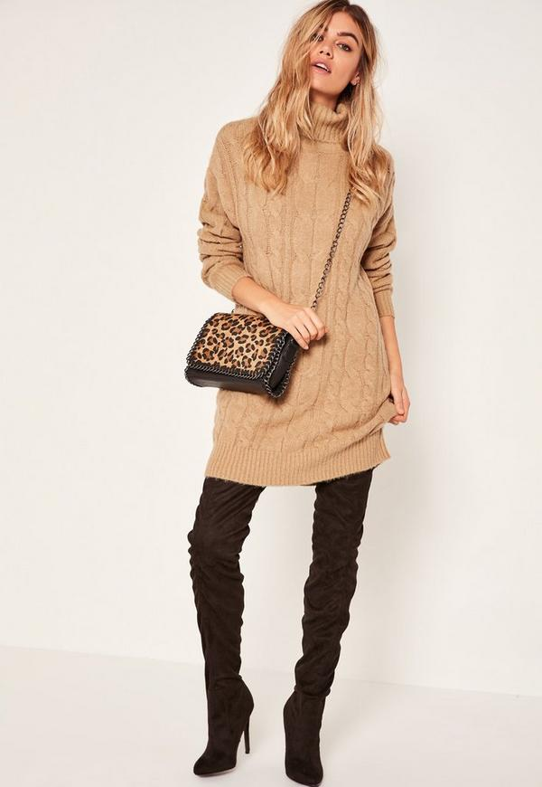 Camel Brushed Cable Knitted Turtleneck Sweater Dress