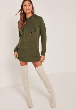 Khaki Distressed Hoodie Mini Dress