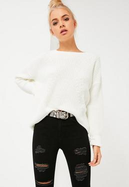 White Dip Back Fashioned Sweater