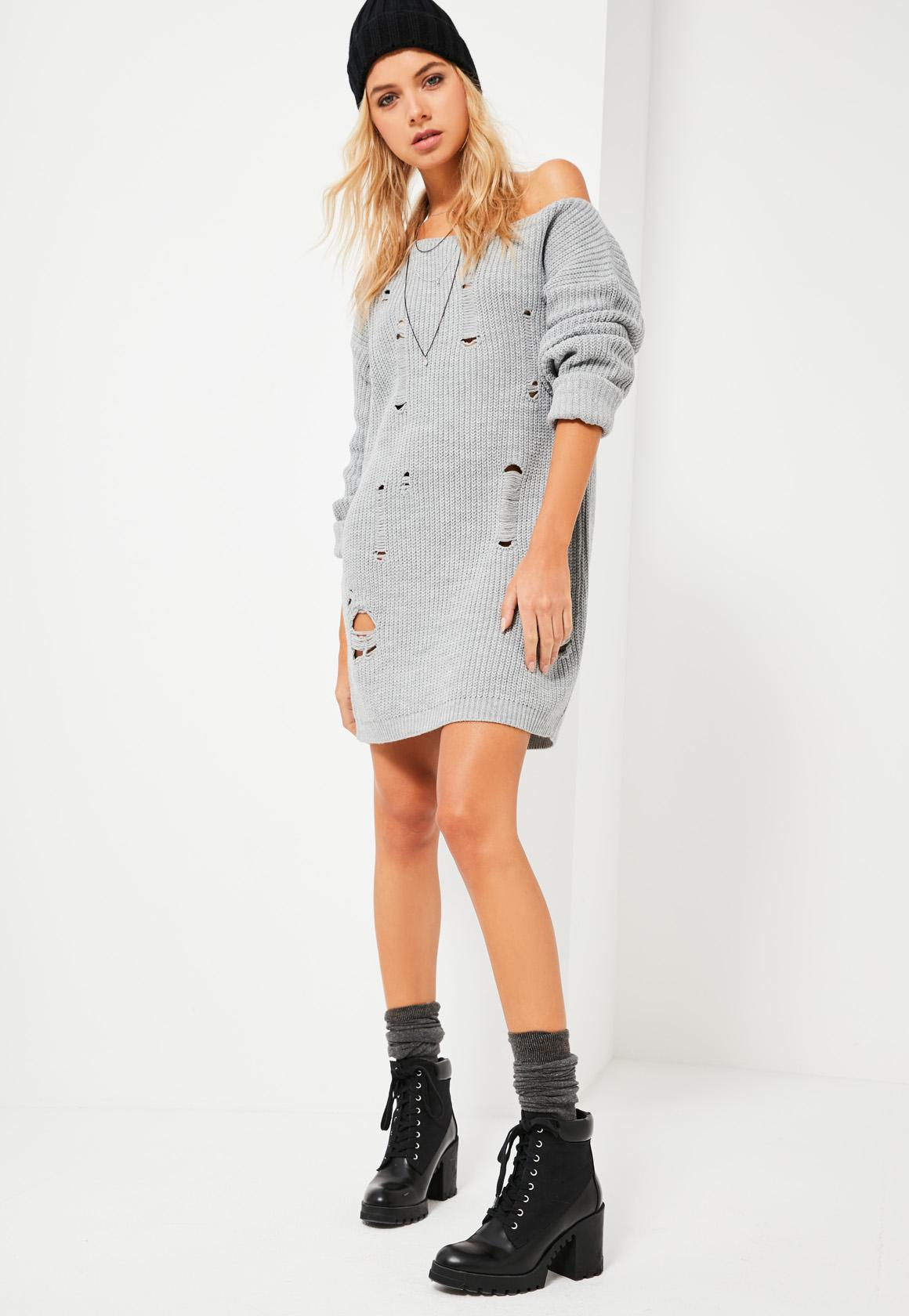 Grey Distressed Off The Shoulder Sweater Dress | Missguided