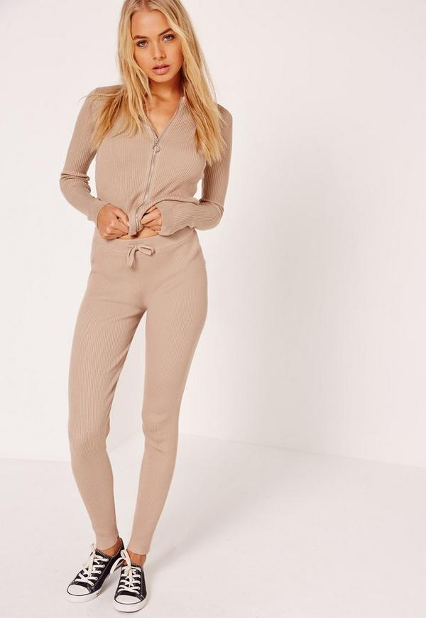 Ribbed Leggings Camel