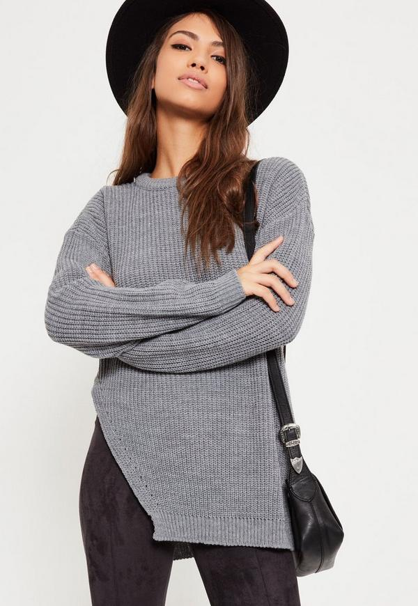 Grey Side Split Crew Neck Jumper