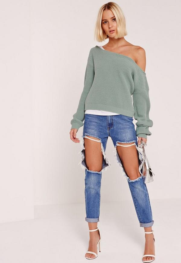 Green Cropped Off shoulder Sweater | Missguided