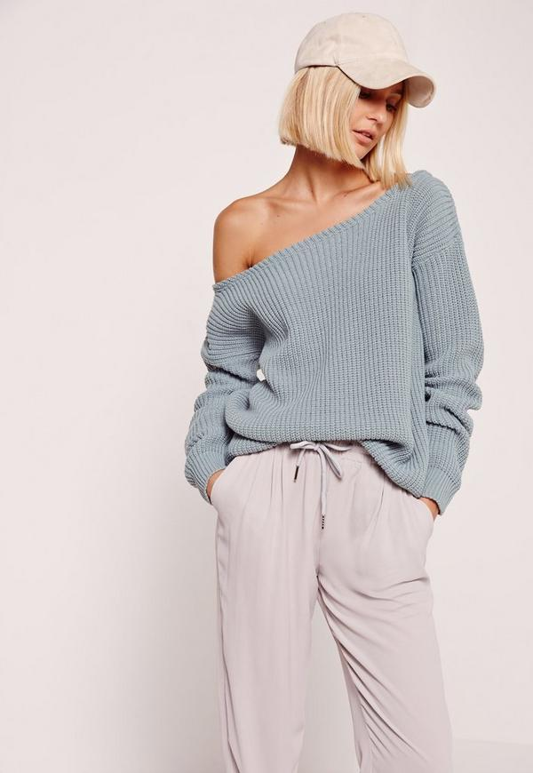 blue off shoulder sweater missguided. Black Bedroom Furniture Sets. Home Design Ideas