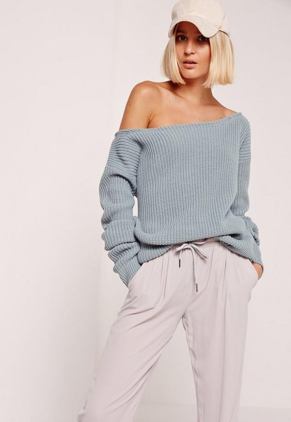 Blue Off Shoulder Sweater | Missguided