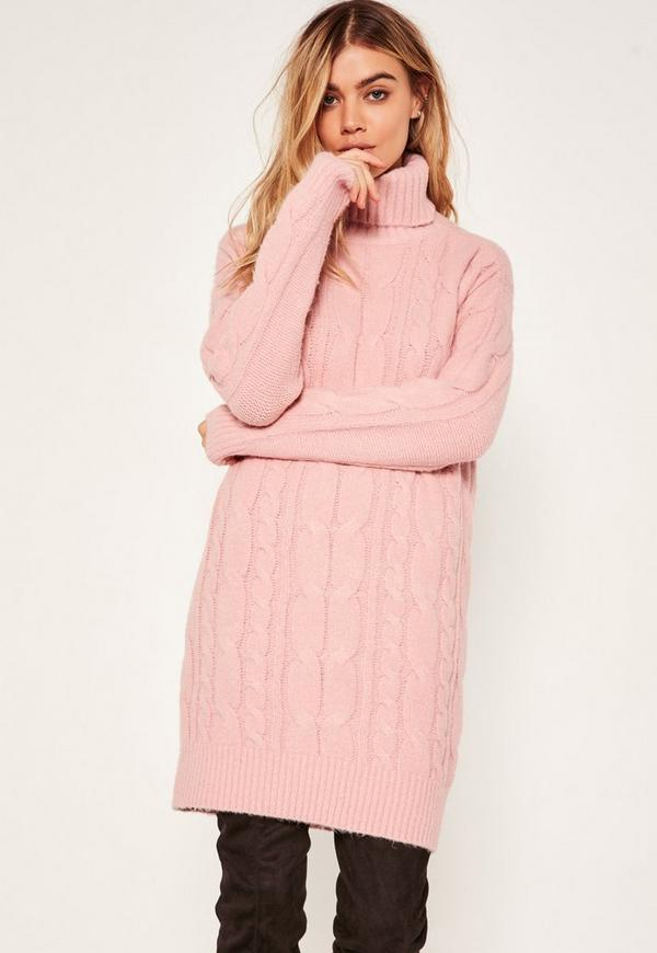 Pink Brushed Cable Knitted Roll Neck Jumper Dress