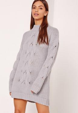 Grey Chunky Cable Knit Mini Dress