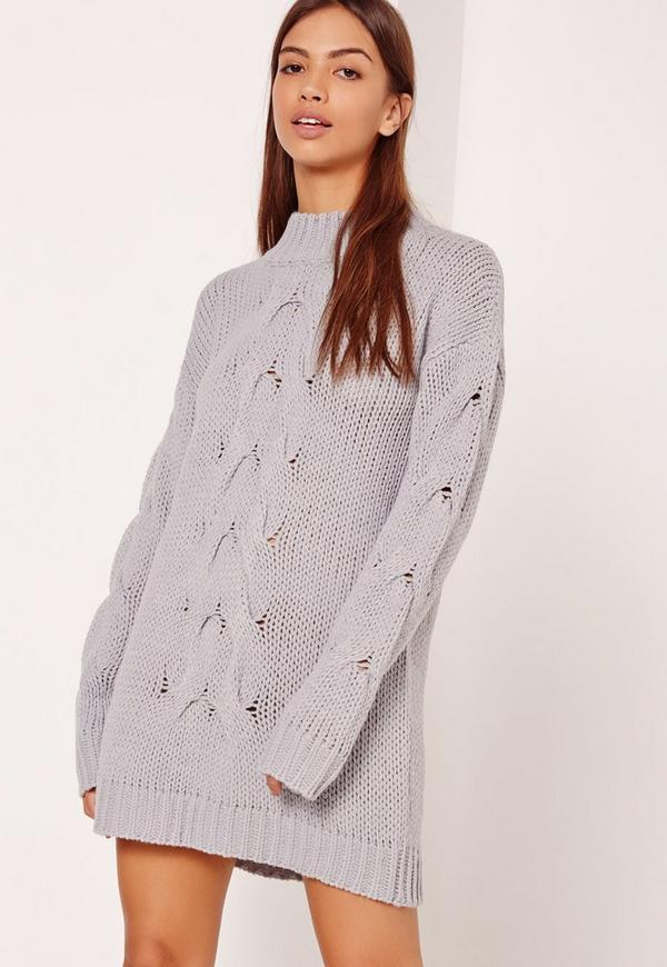 Grey Chunky Cable Knit Mini Jumper Dress