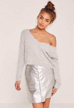 Grey Fluffy Tab Back Cropped Sweater