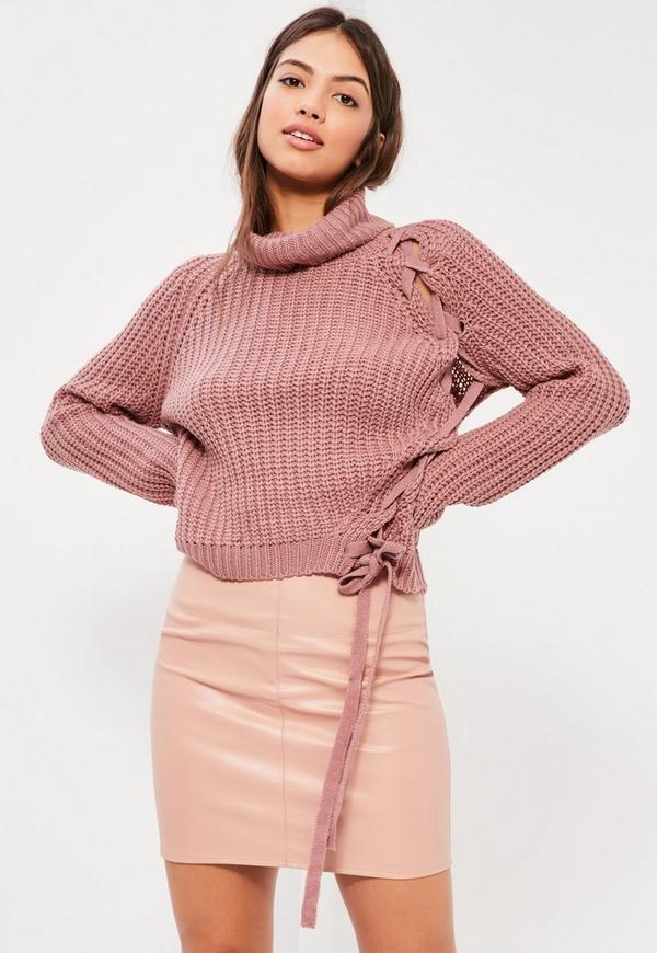 Pink Chunky Roll Neck Lace Up Jumper