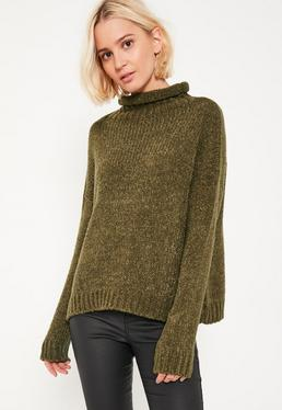 Khaki Cozy Funnel Neck Boucle Sweater