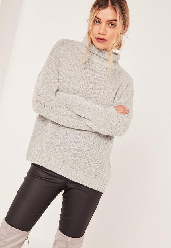 Grey Cosy Funnel Neck Boucle Jumper