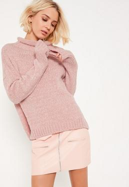 Pink Cozy Funnel Neck Boucle Sweater