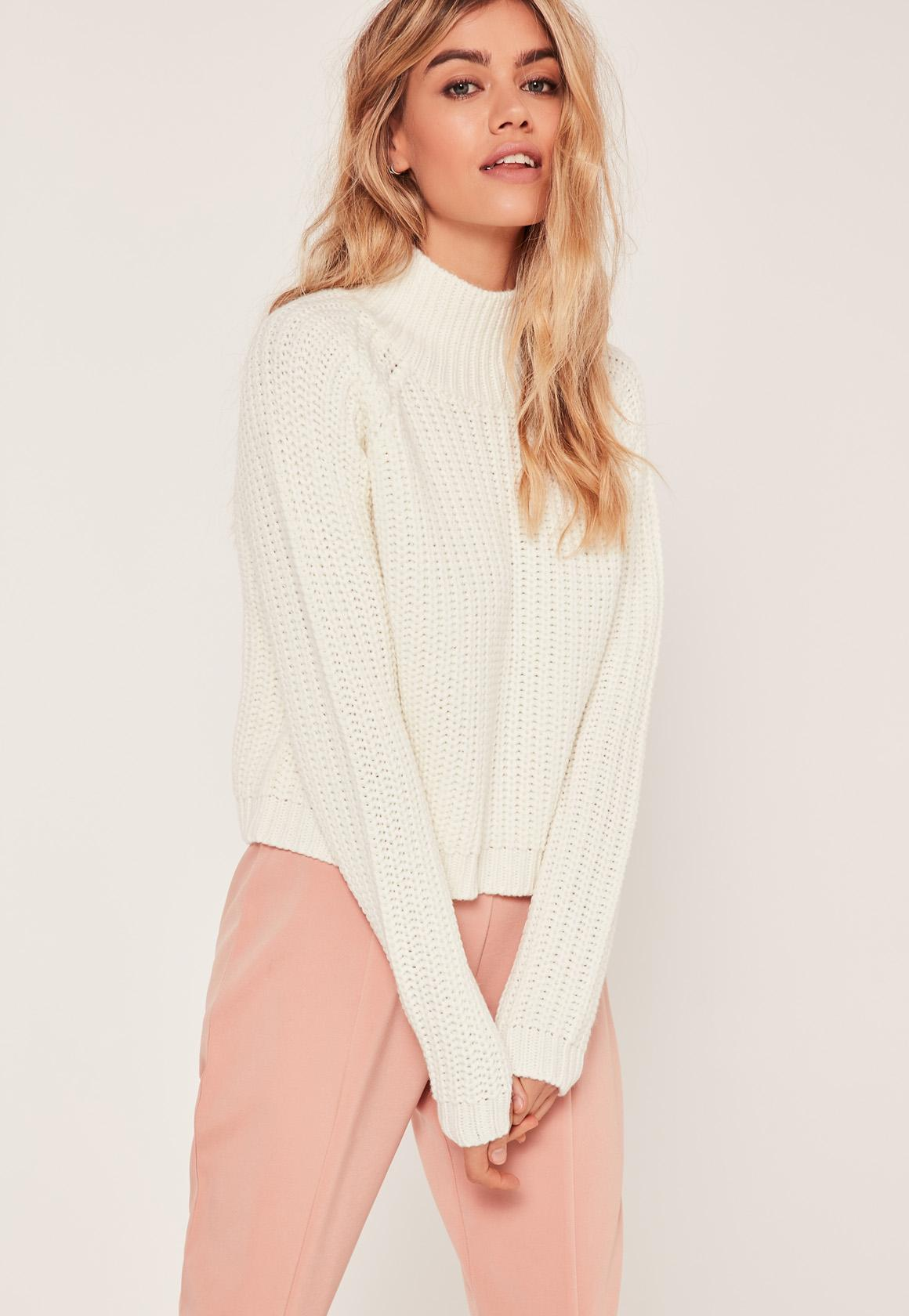 Cream Chunky High Neck Cropped Sweater | Missguided