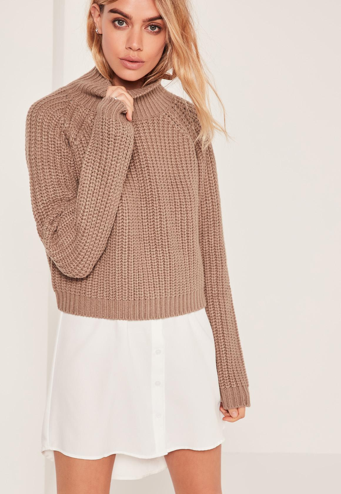 Brown Chunky High Neck Cropped Sweater | Missguided