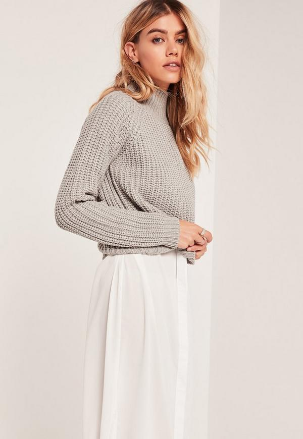 Chunky High Neck Cosy Crop Jumper Grey