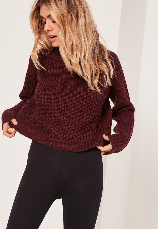 Burgundy Chunky High Neck Cropped Sweater   Missguided