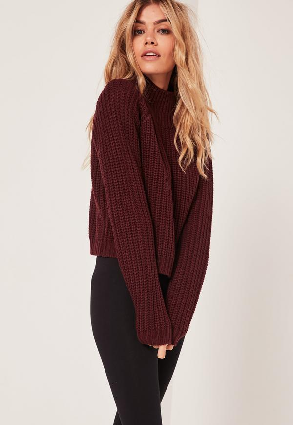 Burgundy Chunky High Neck Cropped Sweater | Missguided