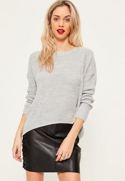 Grey Dip Back Fashioned Sweater