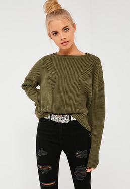Khaki Dip Back Fashioned Sweater
