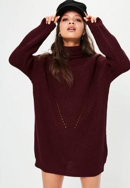Burgundy Roll Neck Mini Sweater Dress