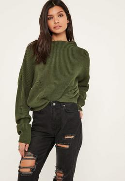 Khaki High Neck Jumper