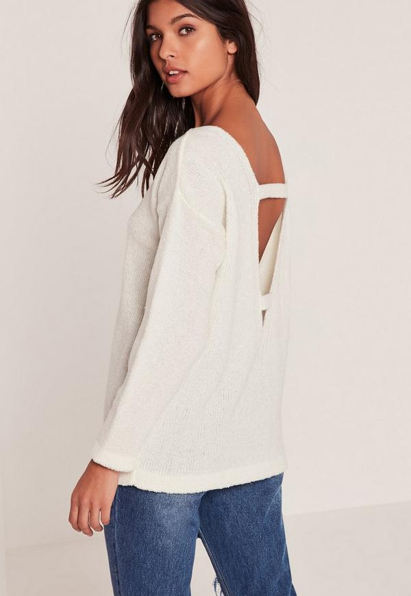 White Cosy Tab Back Jumper