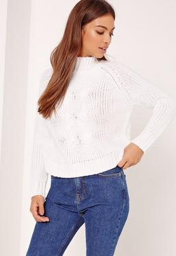 White Grown On Neck Chunky Cropped Jumper