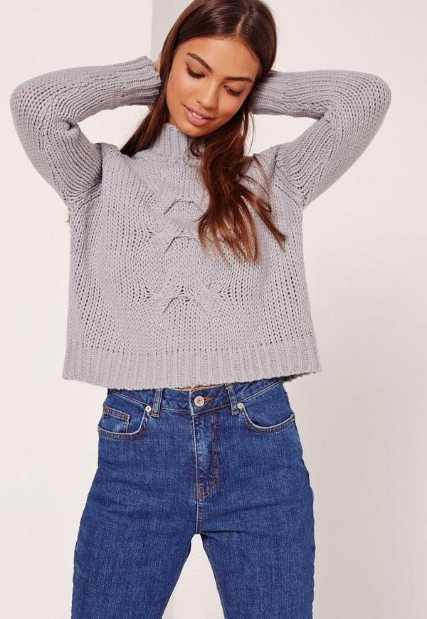 Grey Grown On Neck Chunky Cropped Jumper