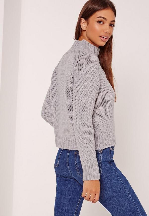 Grey Grown On Neck Chunky Cropped Sweater | Missguided