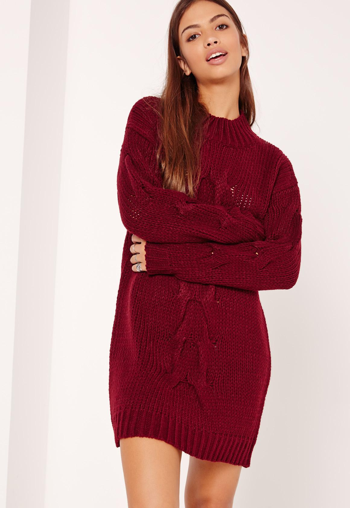Burgundy Chunky Cable Knit Mini Sweater Dress | Missguided