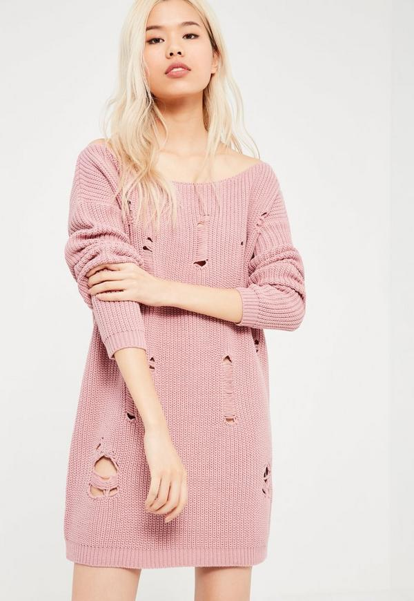 Pink Distressed Off The Shoulder Jumper Dress