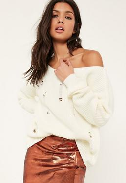 White Distressed Off The Shoulder Sweater