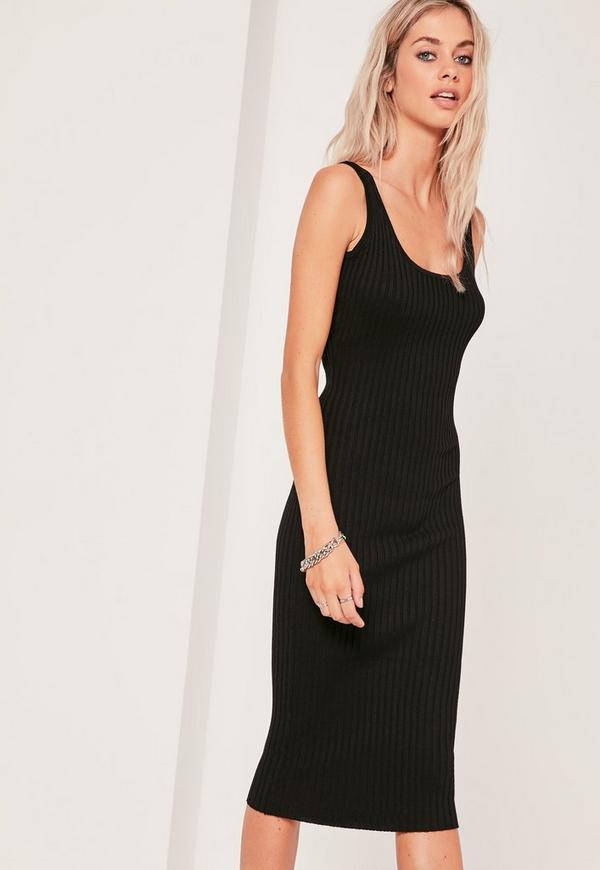 Basic Ribbed Cami Knitted Midi Dress Black