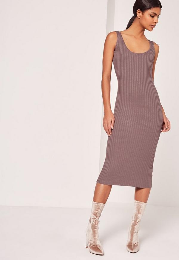 Basic Rib Cami Midi Dress Purple