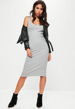 Basic Rib Cami Midi Dress Grey